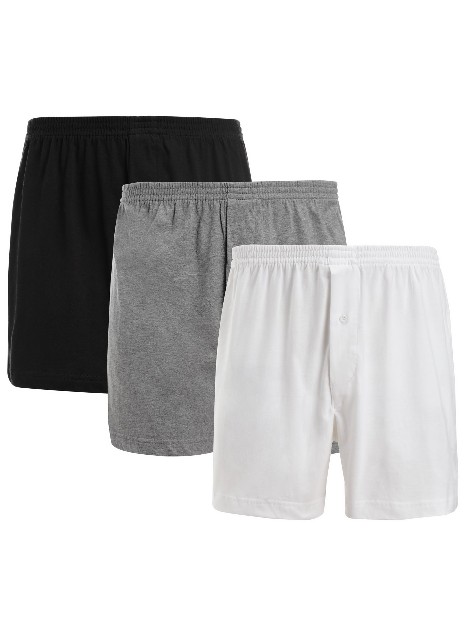 John Lewis Organic Jersey Cotton Boxers, Pack of 3, White/Grey/Black