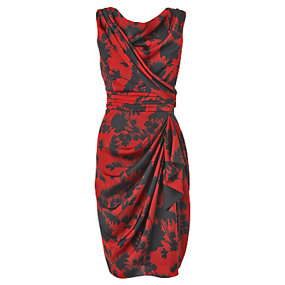 Buy Phase Eight Selina Drape Dress, Black/Ruby online at JohnLewis.com - John Lewis :  floral draped sarong print