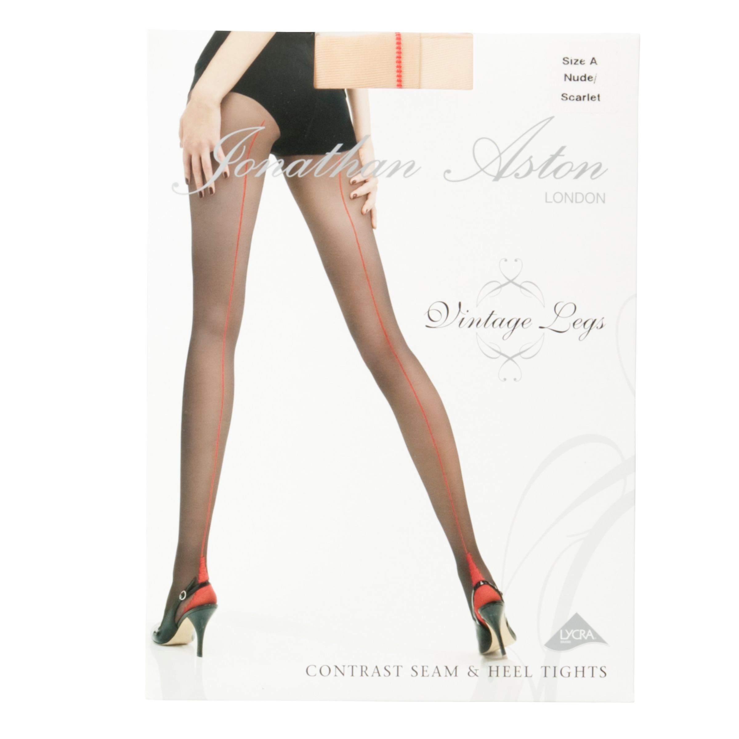 Jonathan Aston Contrast Seam and Heel Tights, Nude/Scarlet