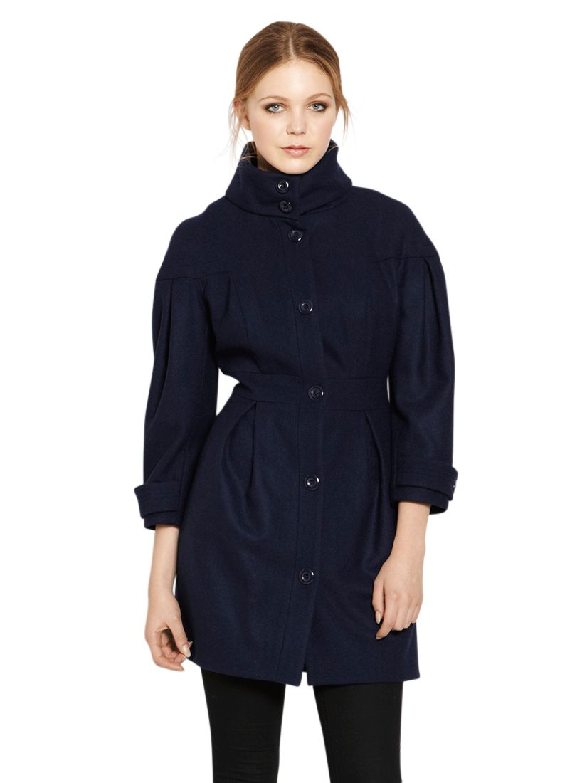 Warehouse Tulip Sleeve Coat, Navy