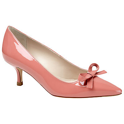 L.K.Bennett Becca Patent Point Toe Kitten Heel Court Shoe, Salmon