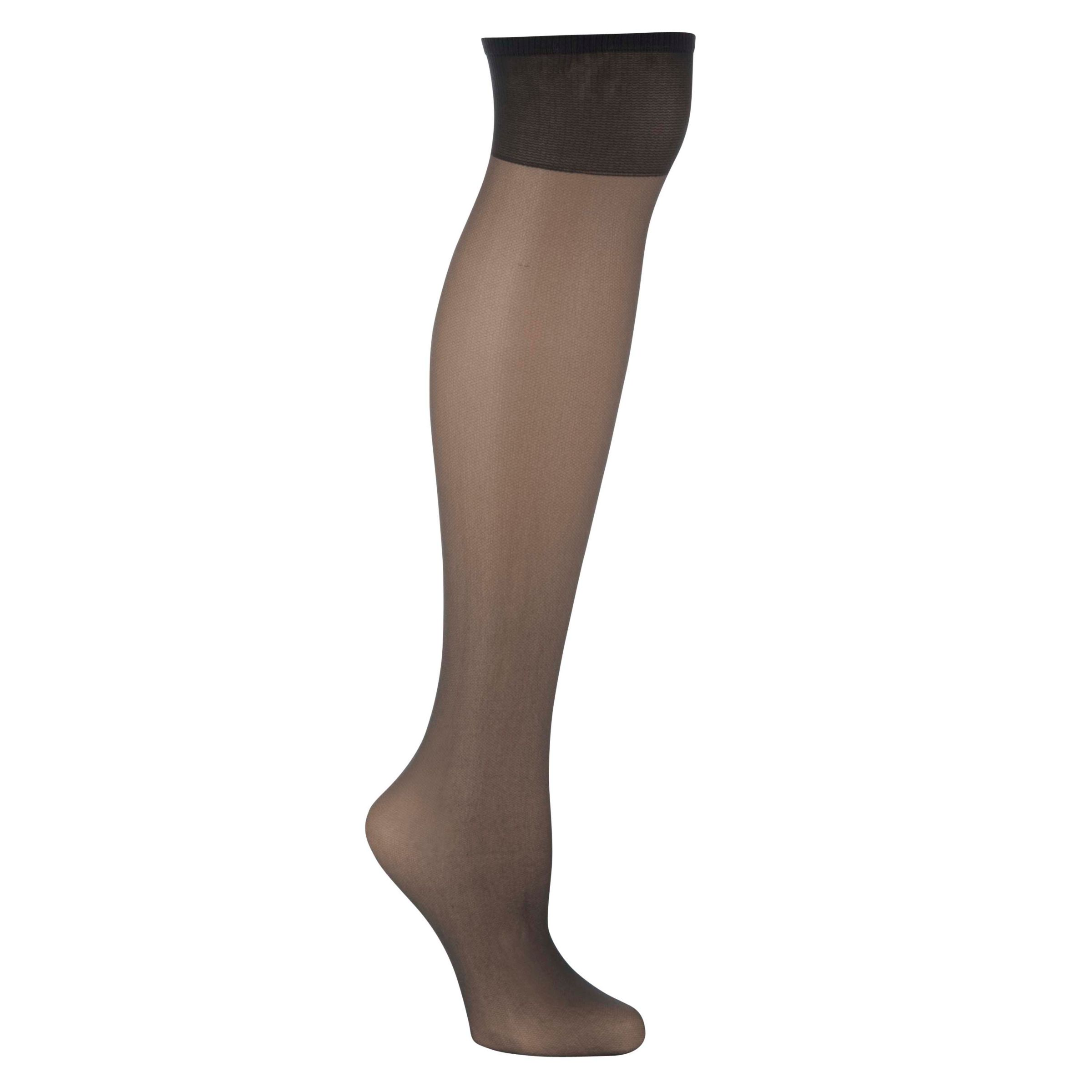 John Lewis 15 Denier Ladder Resist Knee Highs, Pack of 3, Nearly Black XXL