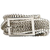 Mango Braided Metallic Belt, Silver