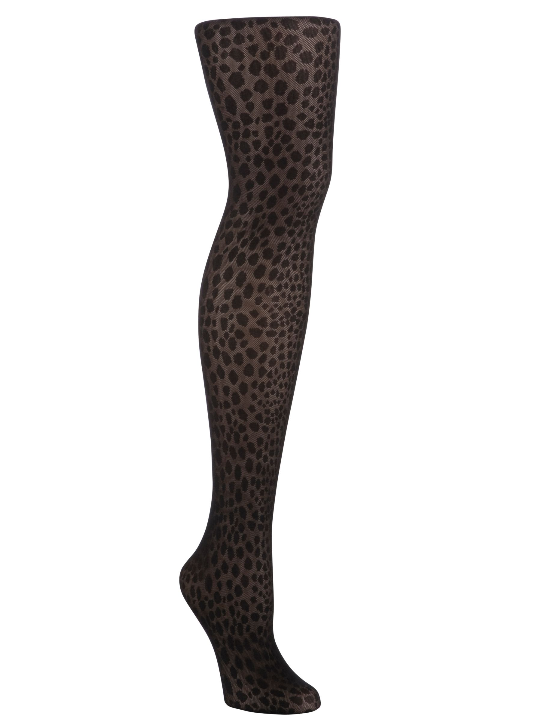 John Lewis Animal Print Tights, Black