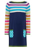 John Lewis Girl Half Stripe Knitted Dress, Multi