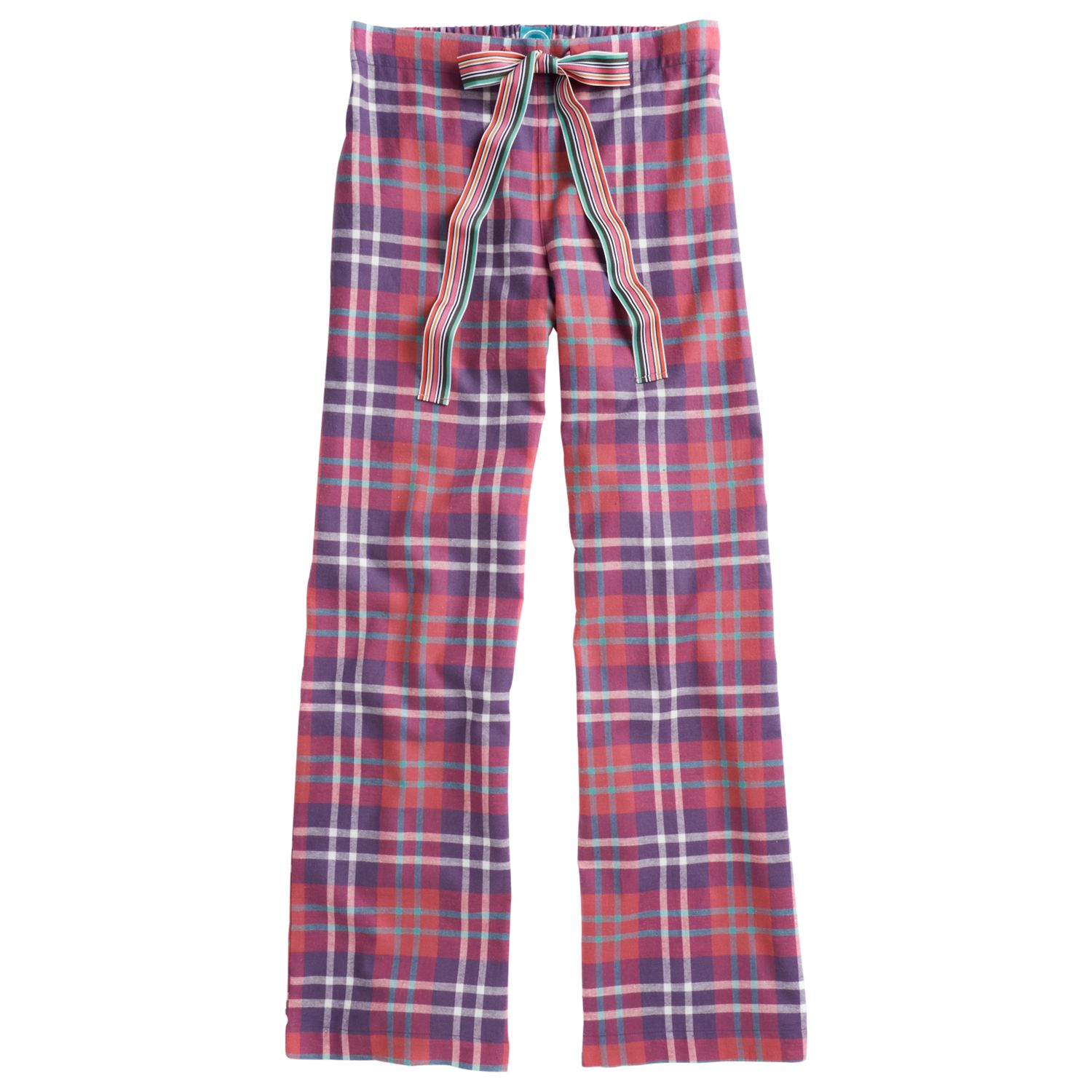 Joules Fleur Check Print Pyjama Trousers, Purple