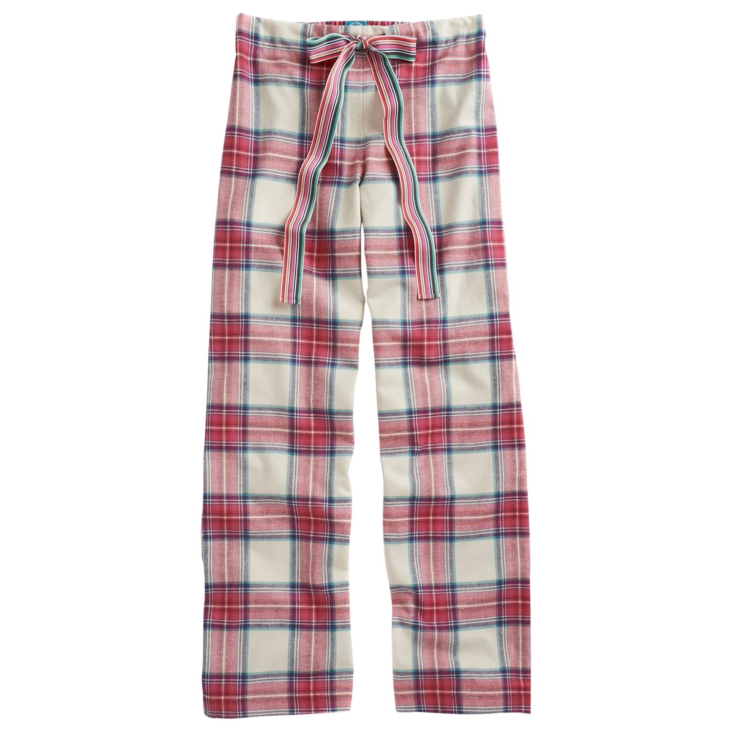 Joules Fleur Check Print Pyjama Trousers, Red