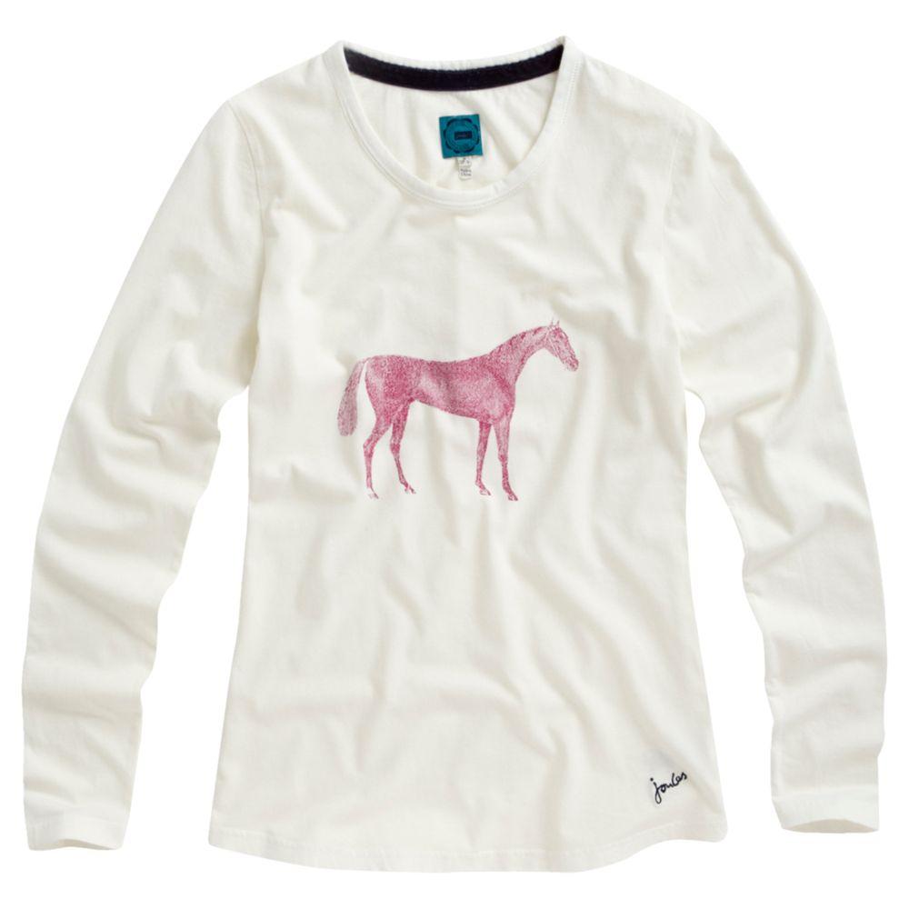 Joules Ginny Horse Print Pyjama Top, Cream