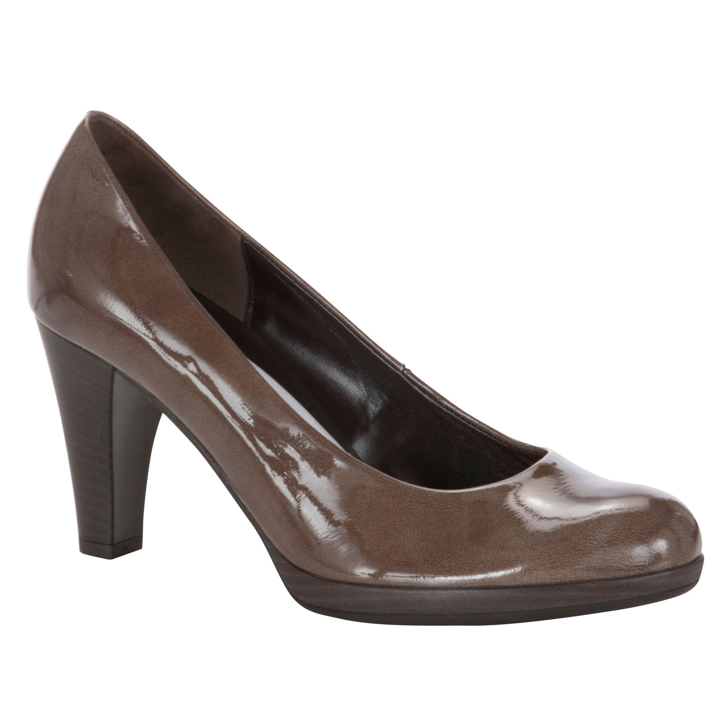 Gabor Soria Patent Cone Heel Court Shoes, Taupe