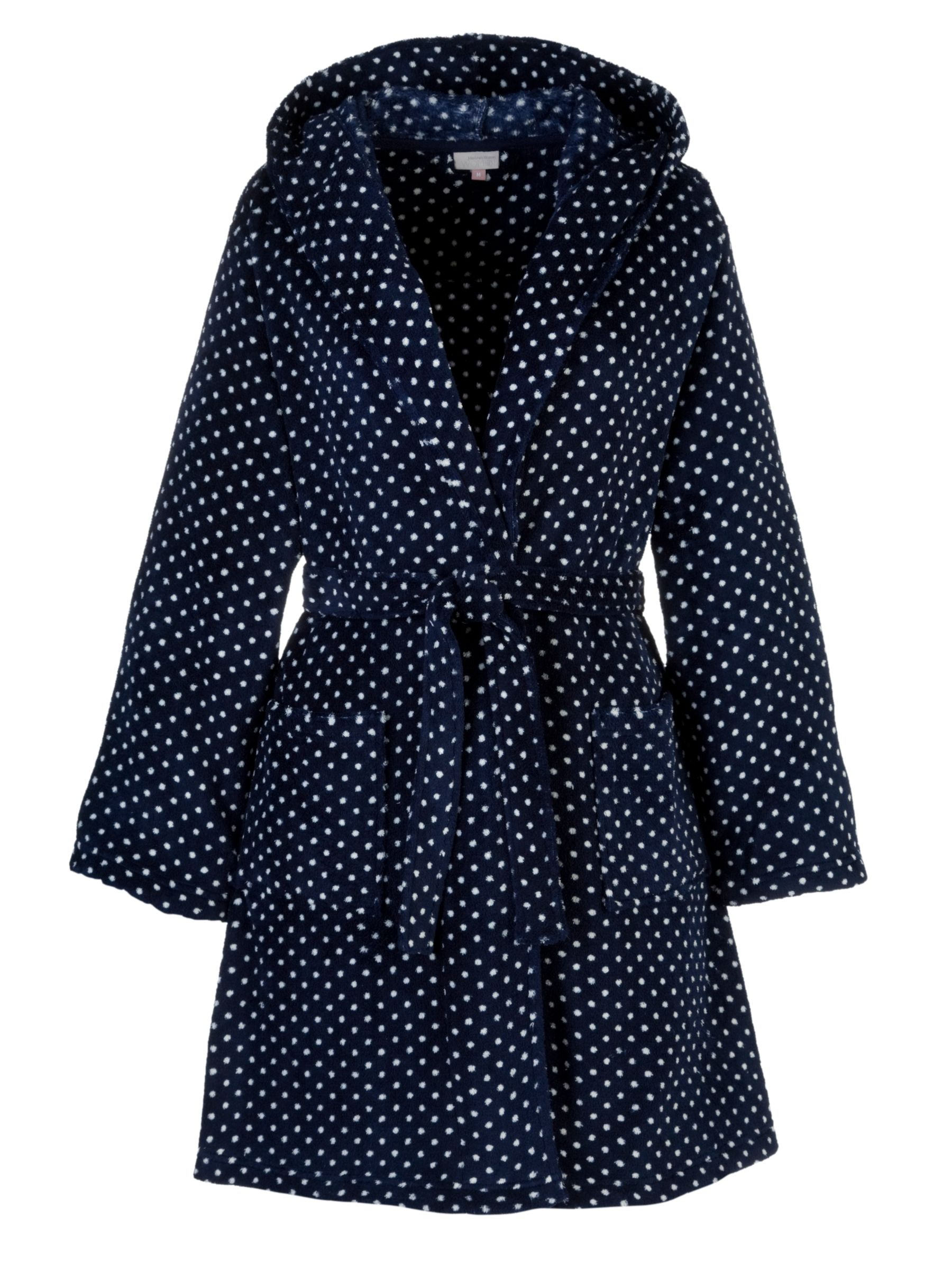 John Lewis Spot Hooded Robe, Blue/White