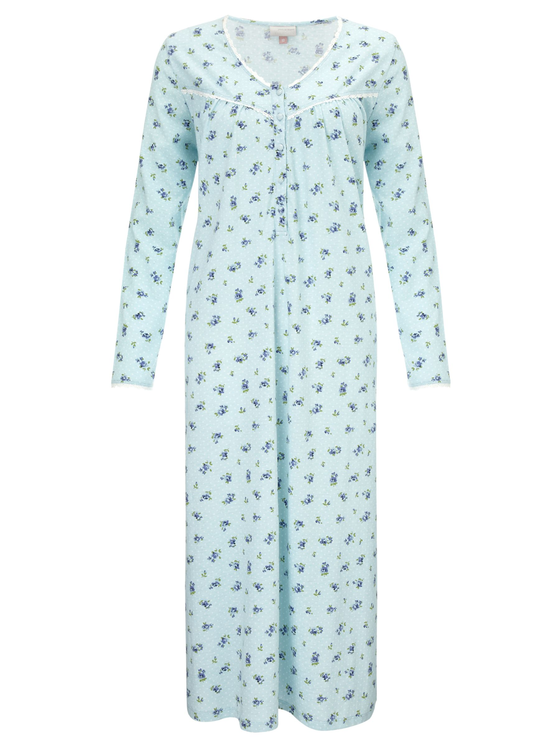 John Lewis Bunty Floral Nightdress, Duck Egg