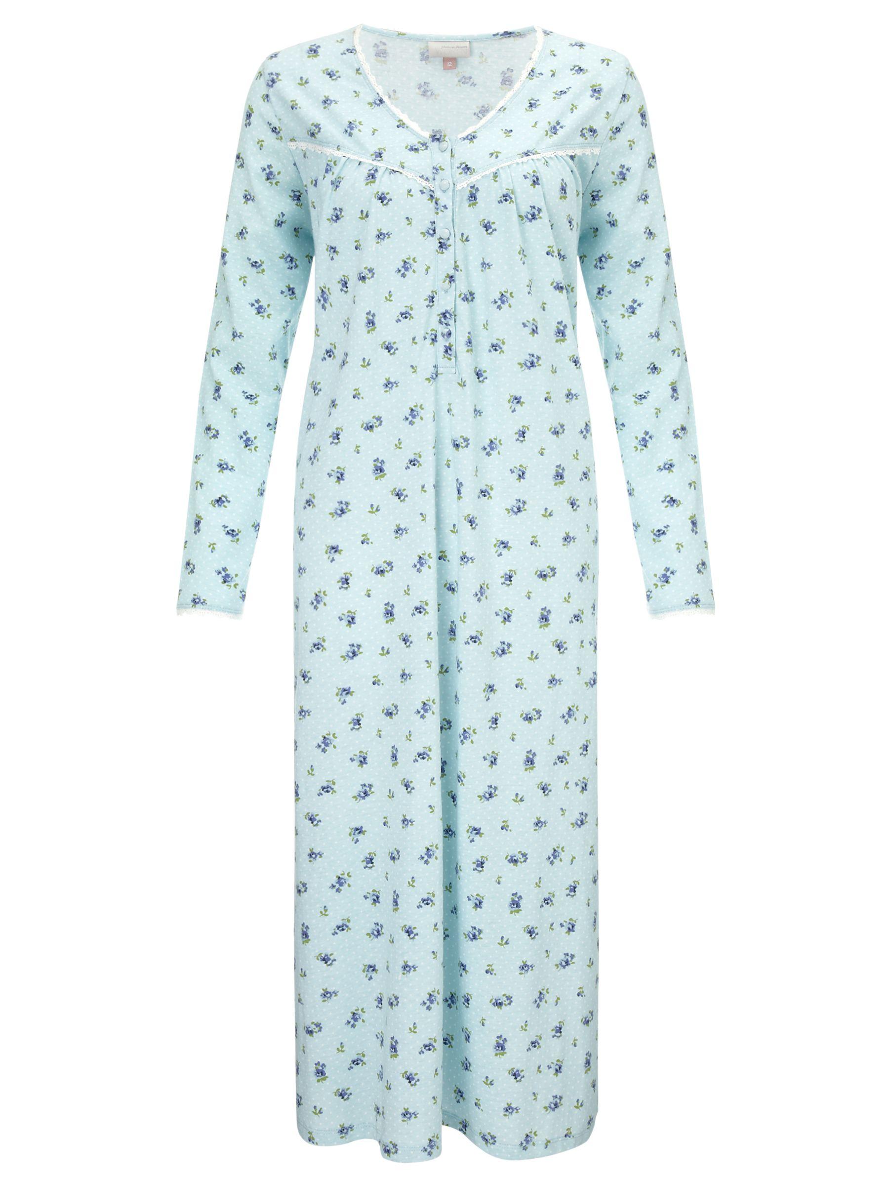 John Lewis Bunty Floral Nightdress, Duck Egg