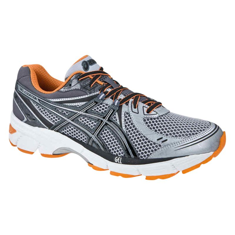 Asics Gel Equation 6 Men's Cushioned Running Shoes, Grey/Orange