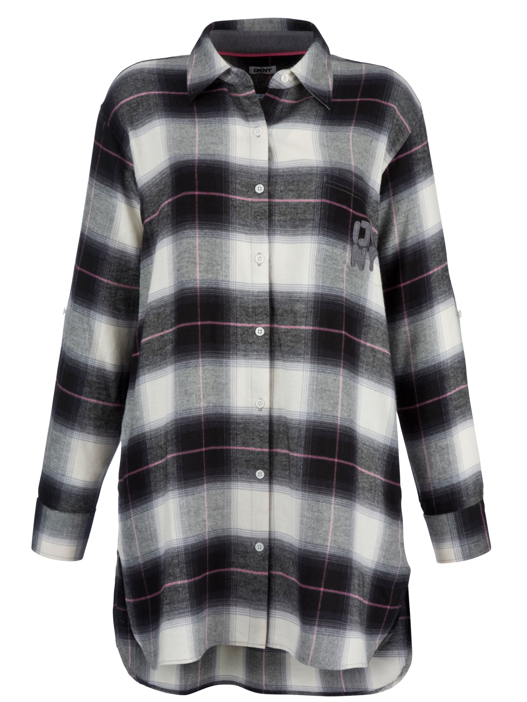 DKNY Pattern Play Check Nightshirt, Grey