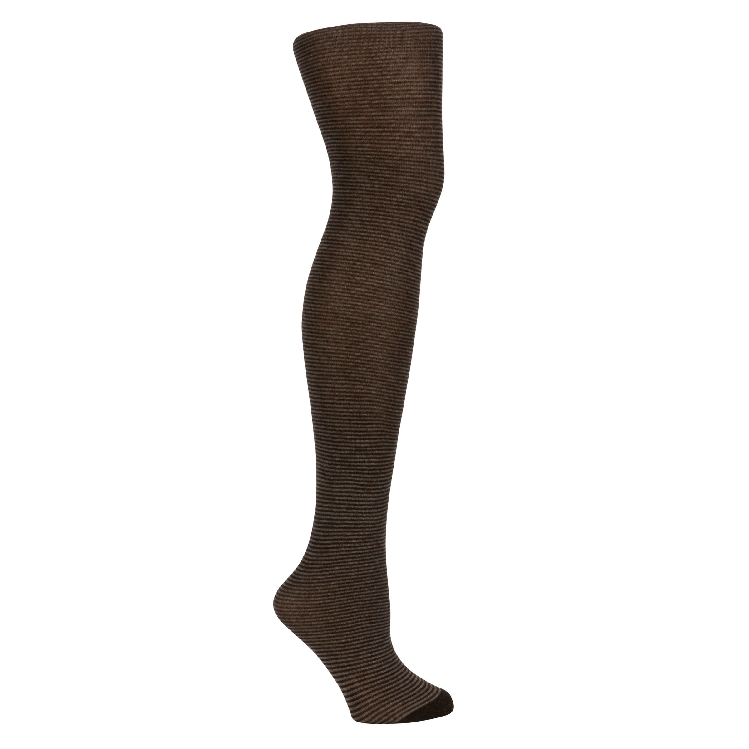 John Lewis Viscose Striped Tights, Brown
