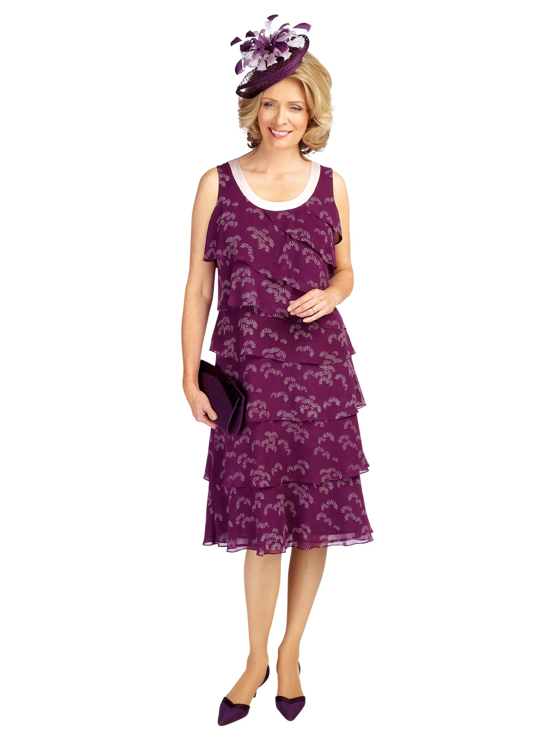 Buy Jacques Vert Layered Fan Print Dress, Dark Purple online at