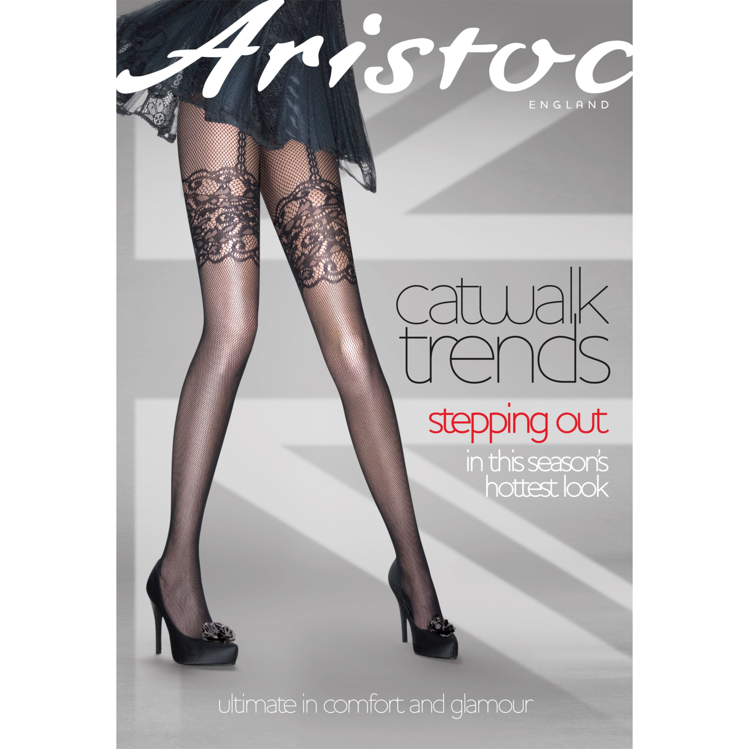 Aristoc Mock Suspender Fishnet Tights, Black
