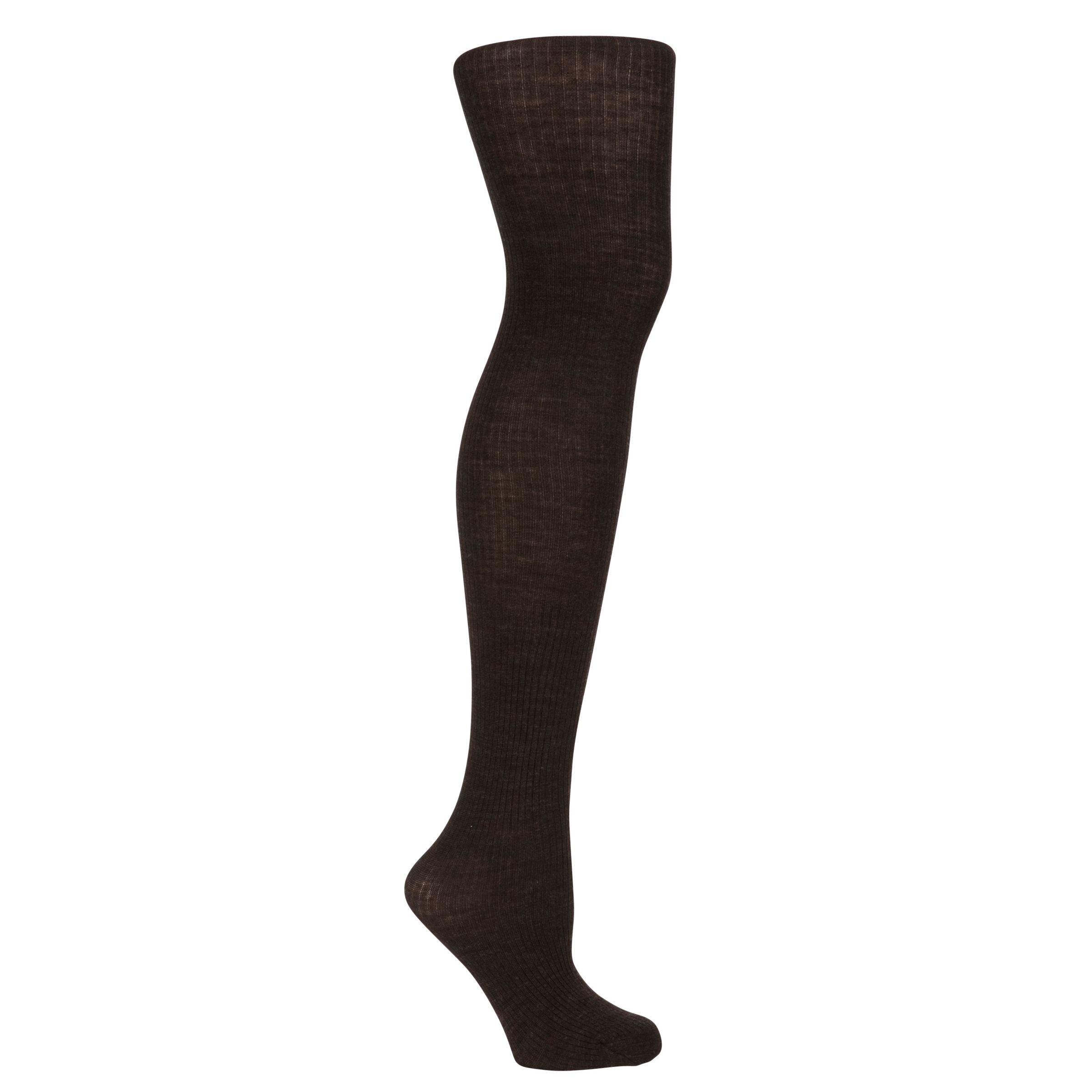 John Lewis Ribbed Wool Tights, Chocolate