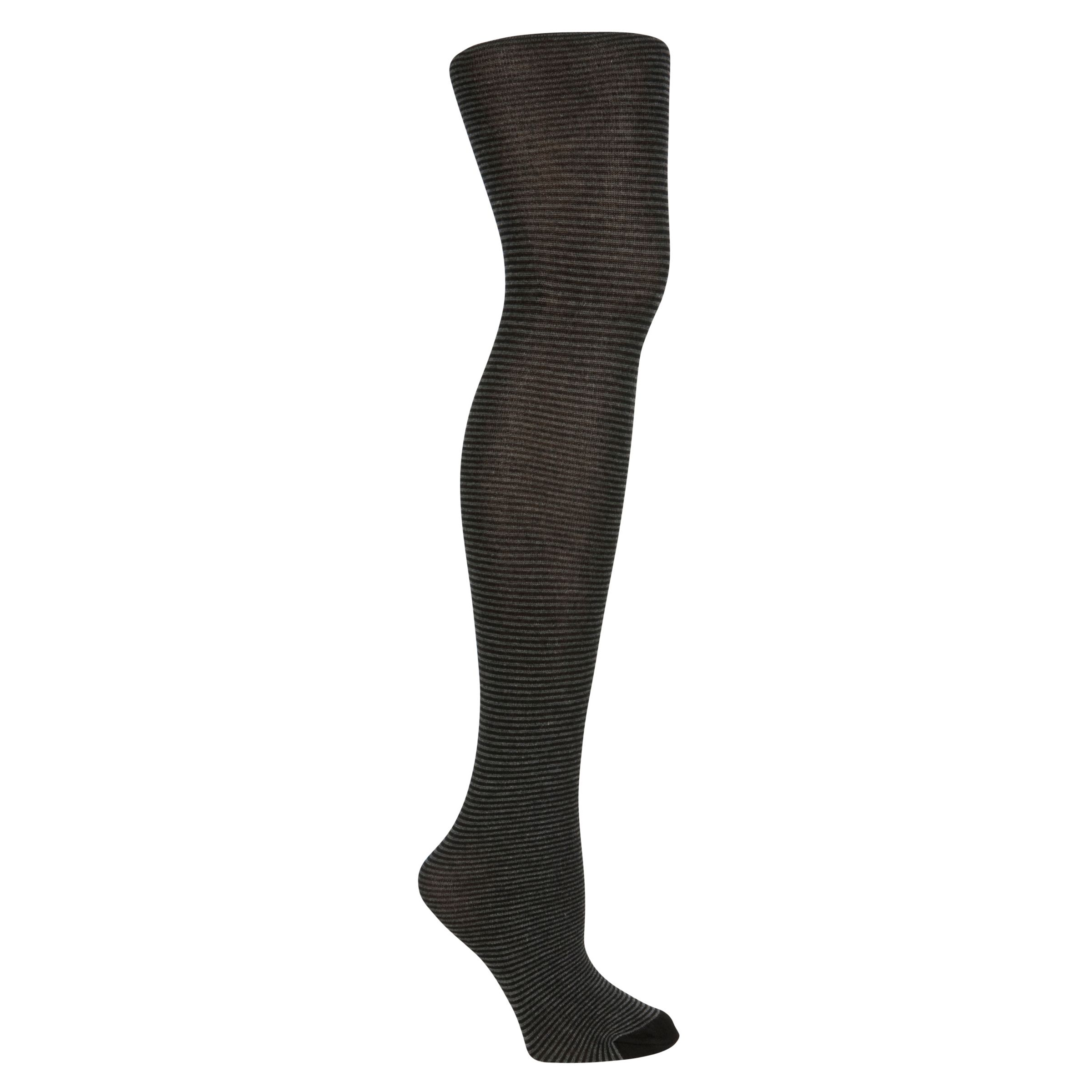 John Lewis Viscose Striped Tights, Black