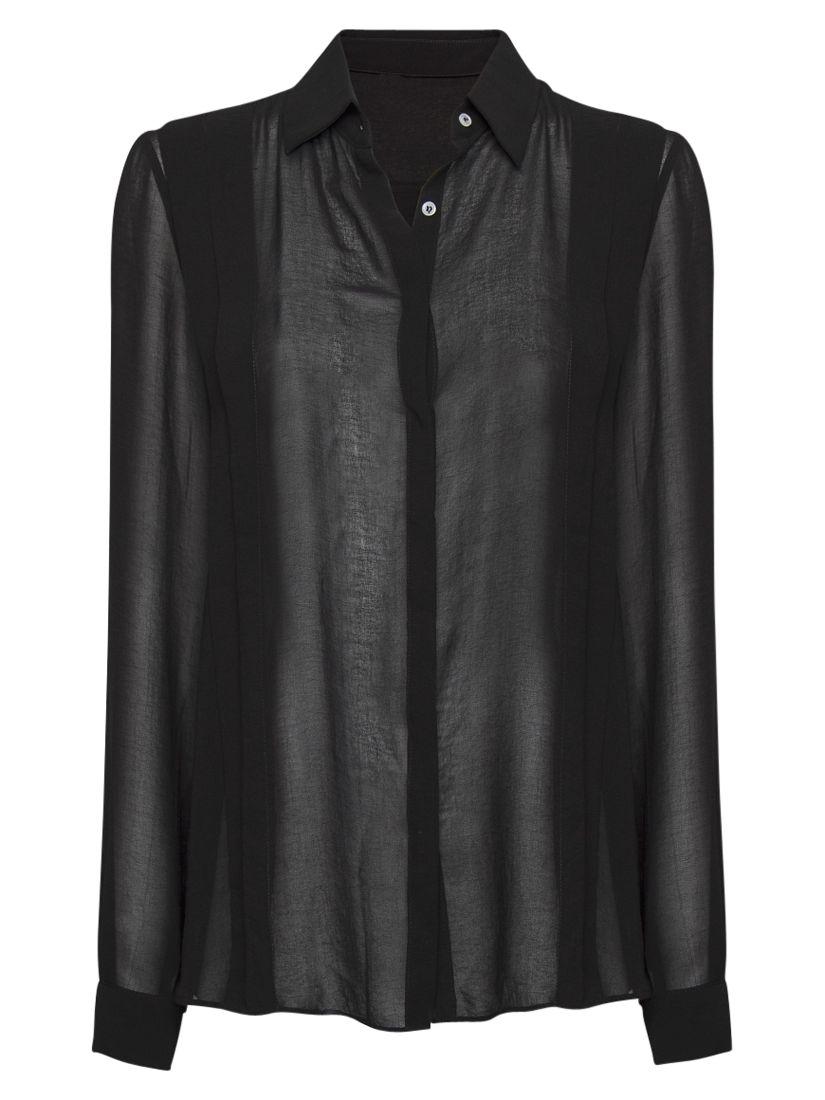 Mango Pleated Sheer Shirt, Black