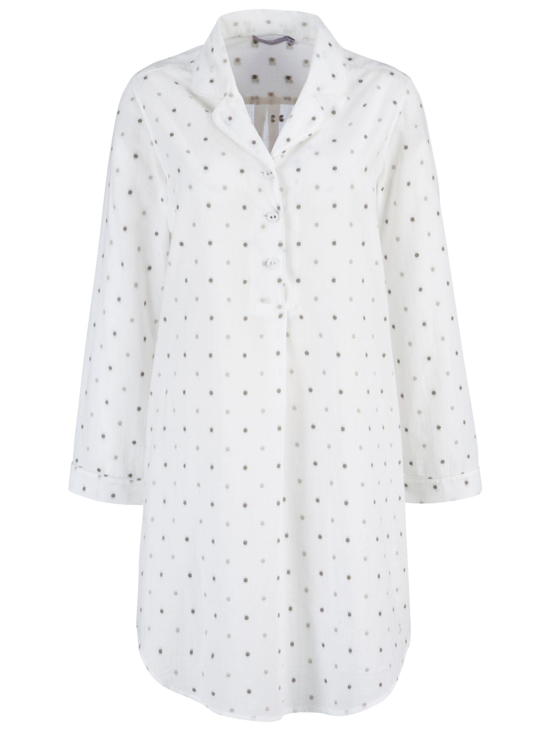 John Lewis Dobby Spot Nightshirt, White/Grey