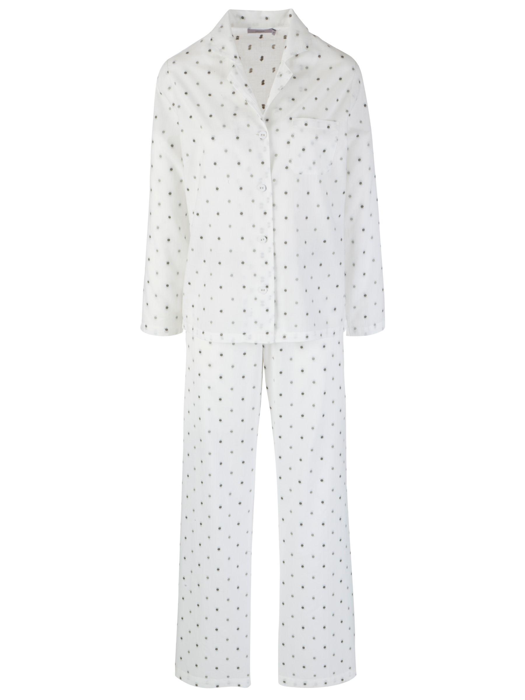John Lewis Dobby Spot Pyjama Set, White/Grey