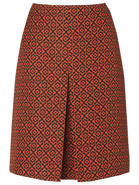 Phase Eight Lisy Jacquard Skirt, Black/Cherry
