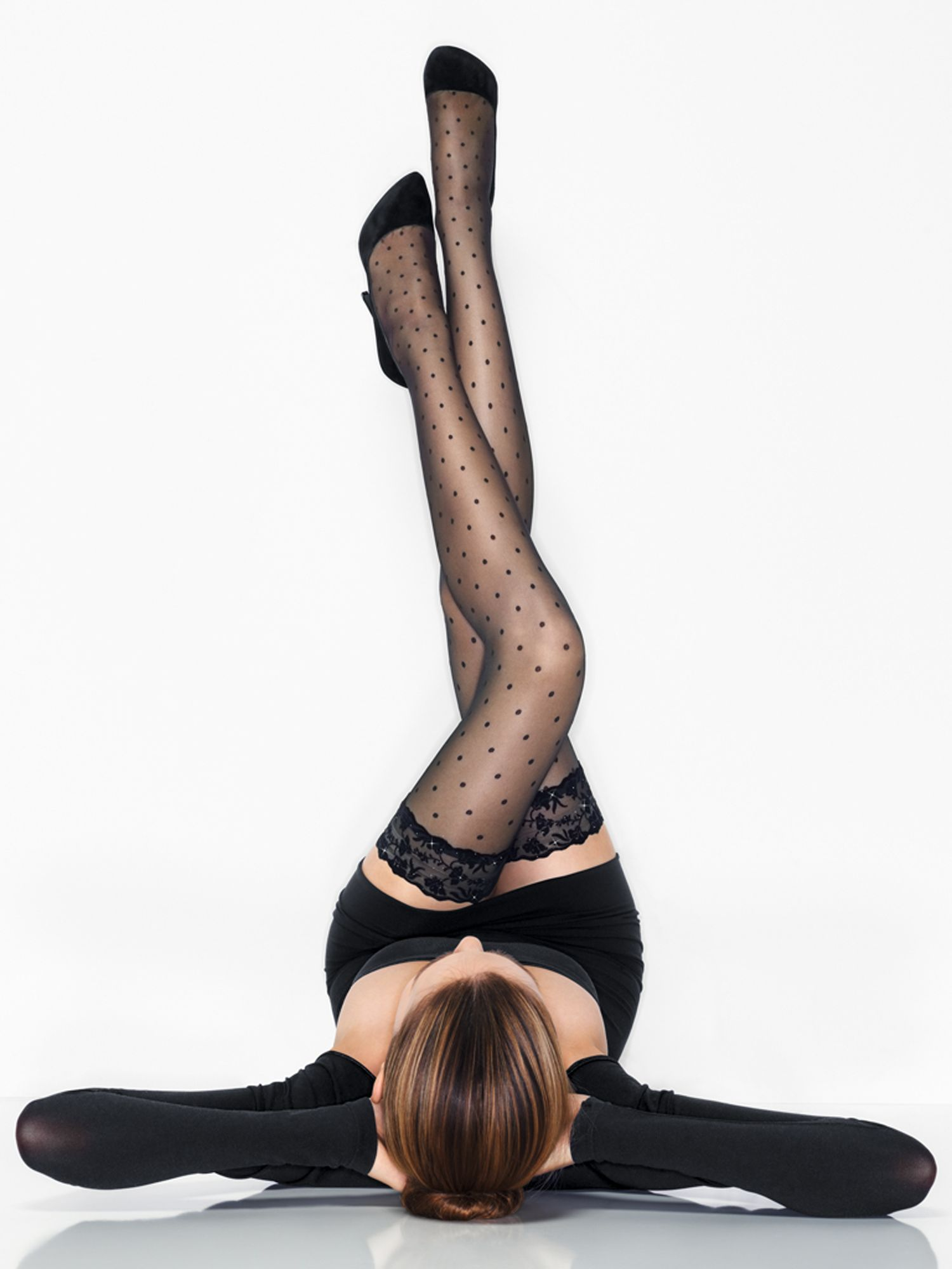 Wolford Silver Glam Stayup Holdups, Blacks
