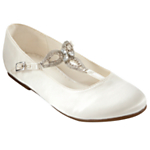 John Lewis Girl Melissa Vintage T-Bar Shoes, Ivory £20-22