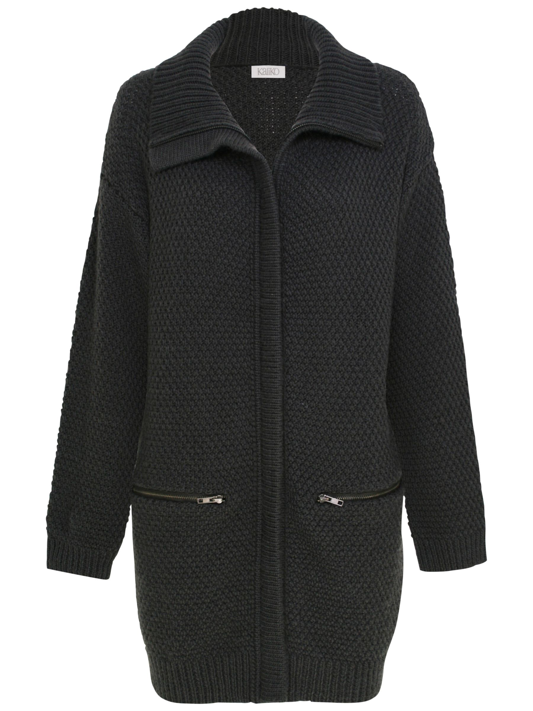 Kaliko Zip Pocket Cardigan, Dark Grey