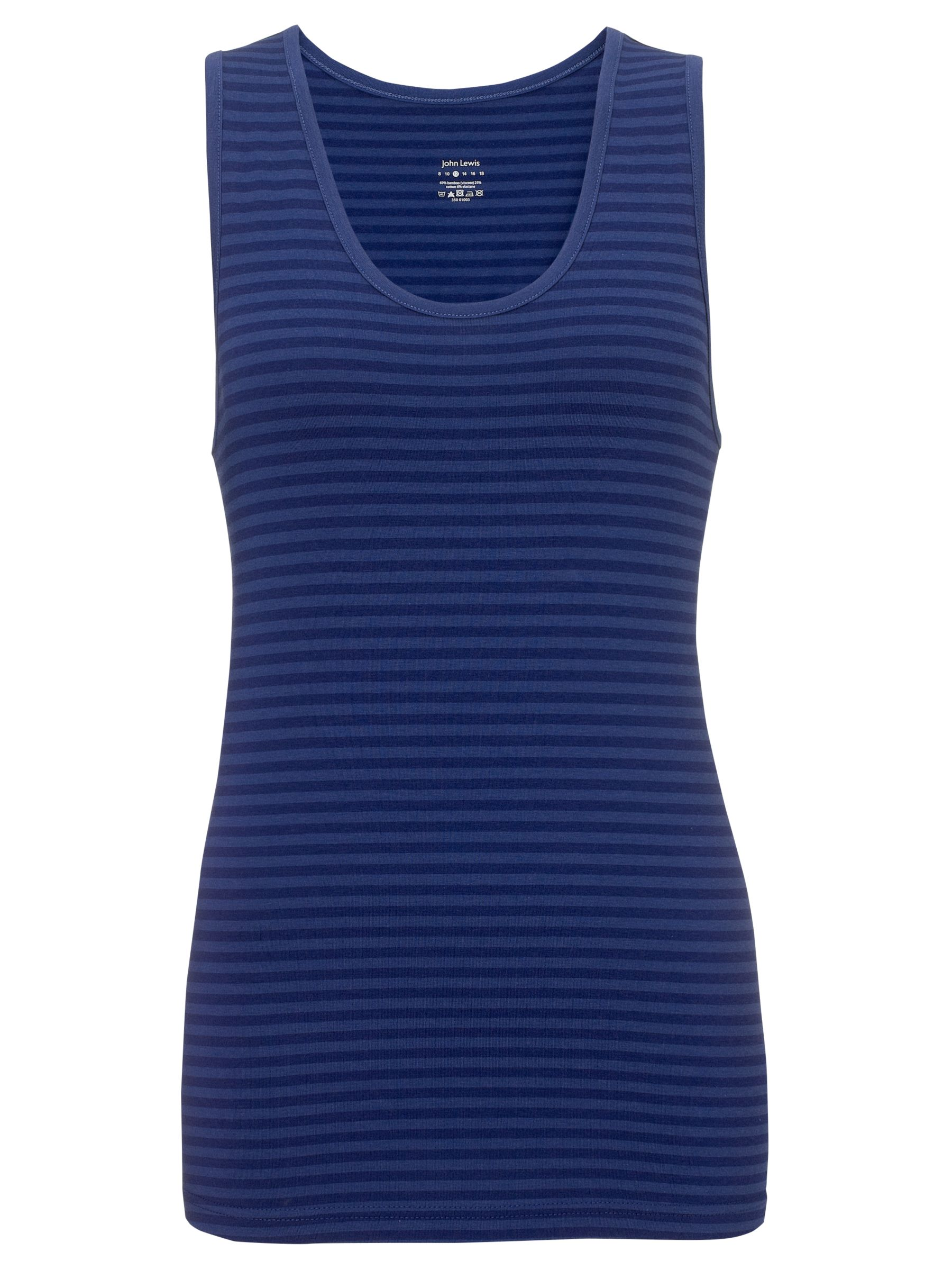 John Lewis Stripe Yoga Tank Top, Navy/Blue