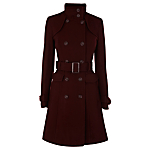 Warehouse Melton Trench Coat, Plum
