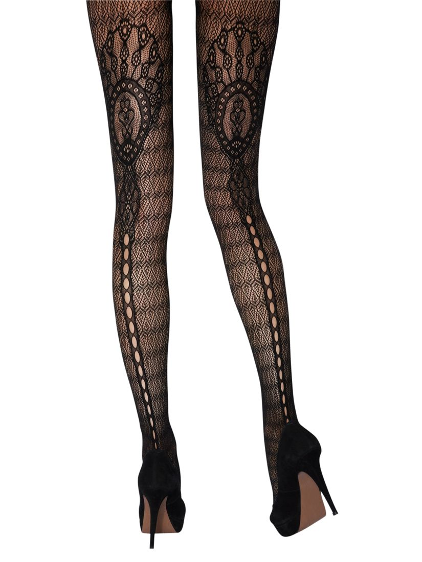 Jonathan Aston Faith Lace Pattern Tights, Black