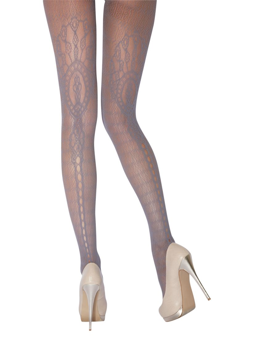 Jonathan Aston Faith Lace Pattern Tights, Pewter