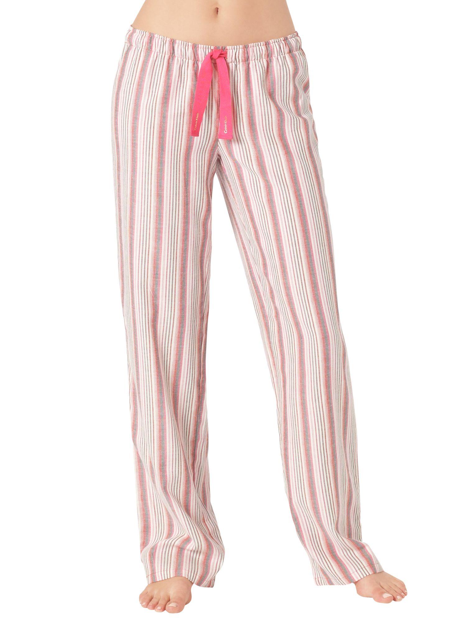 Calvin Klein Cabaret Stripe Pyjama Bottoms, Pink/Ivory