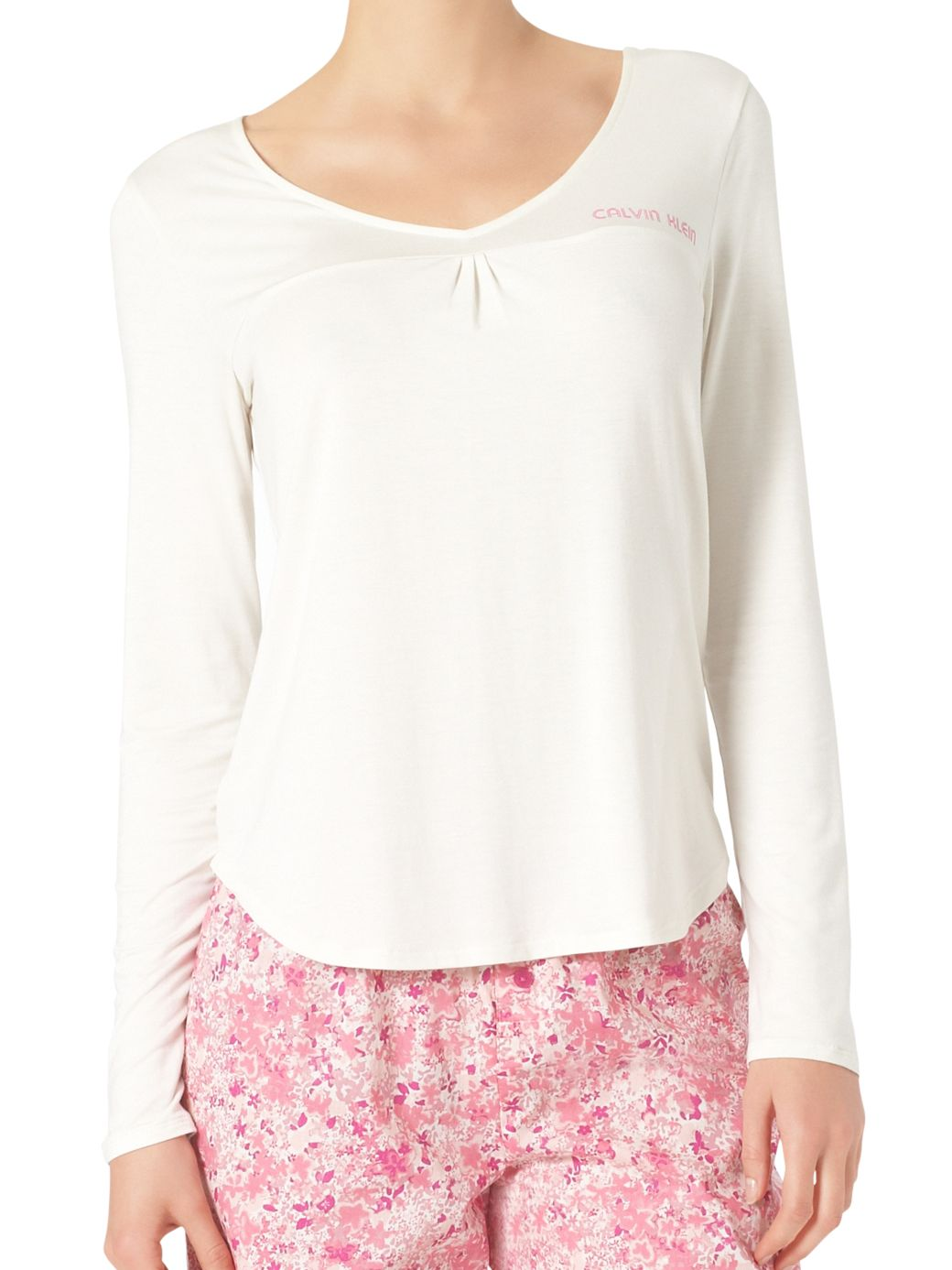 Calvin Klein Long Sleeve Pyjama Top, Ivory
