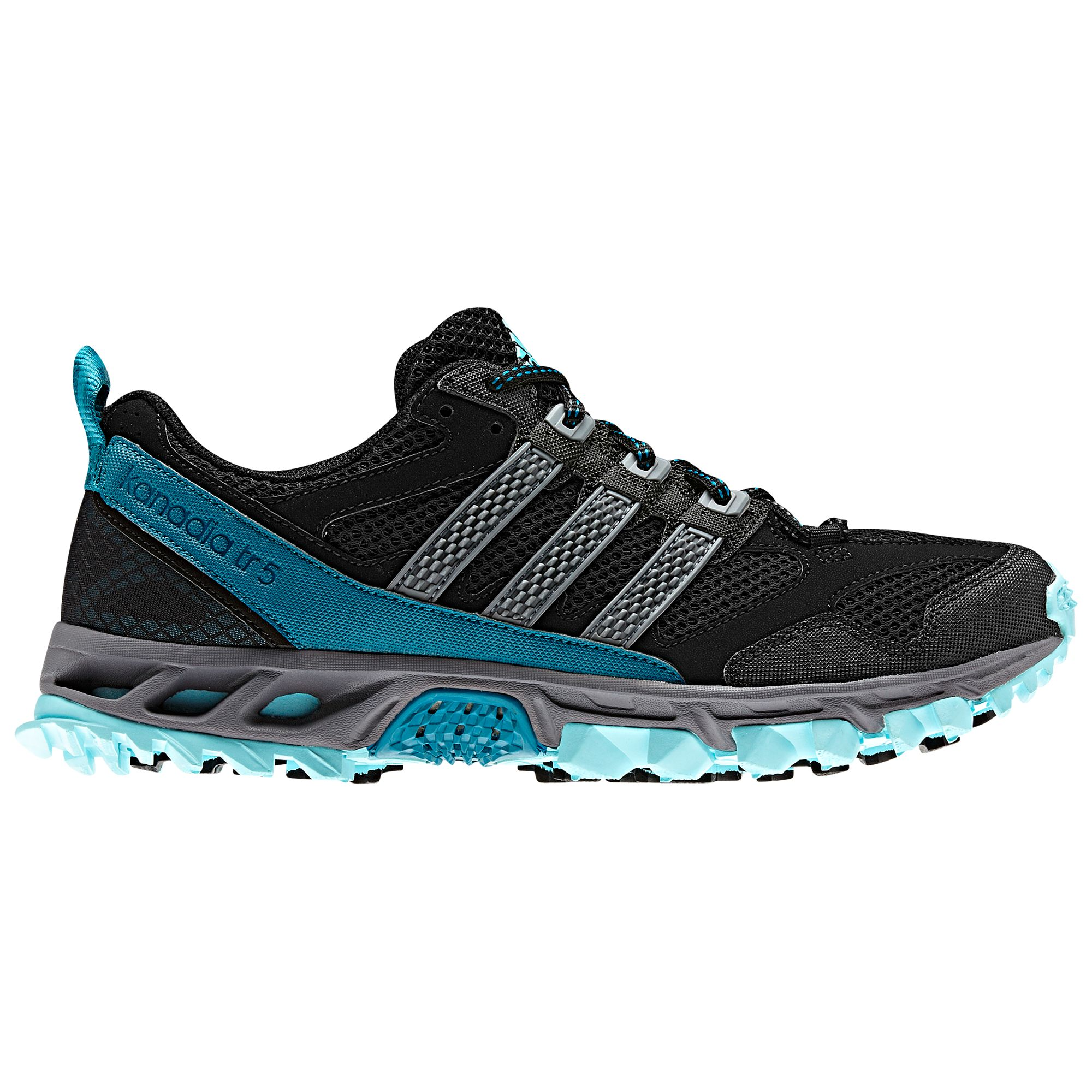 Adidas Kanadia 5 Running Shoes, Black/Grey/Blue