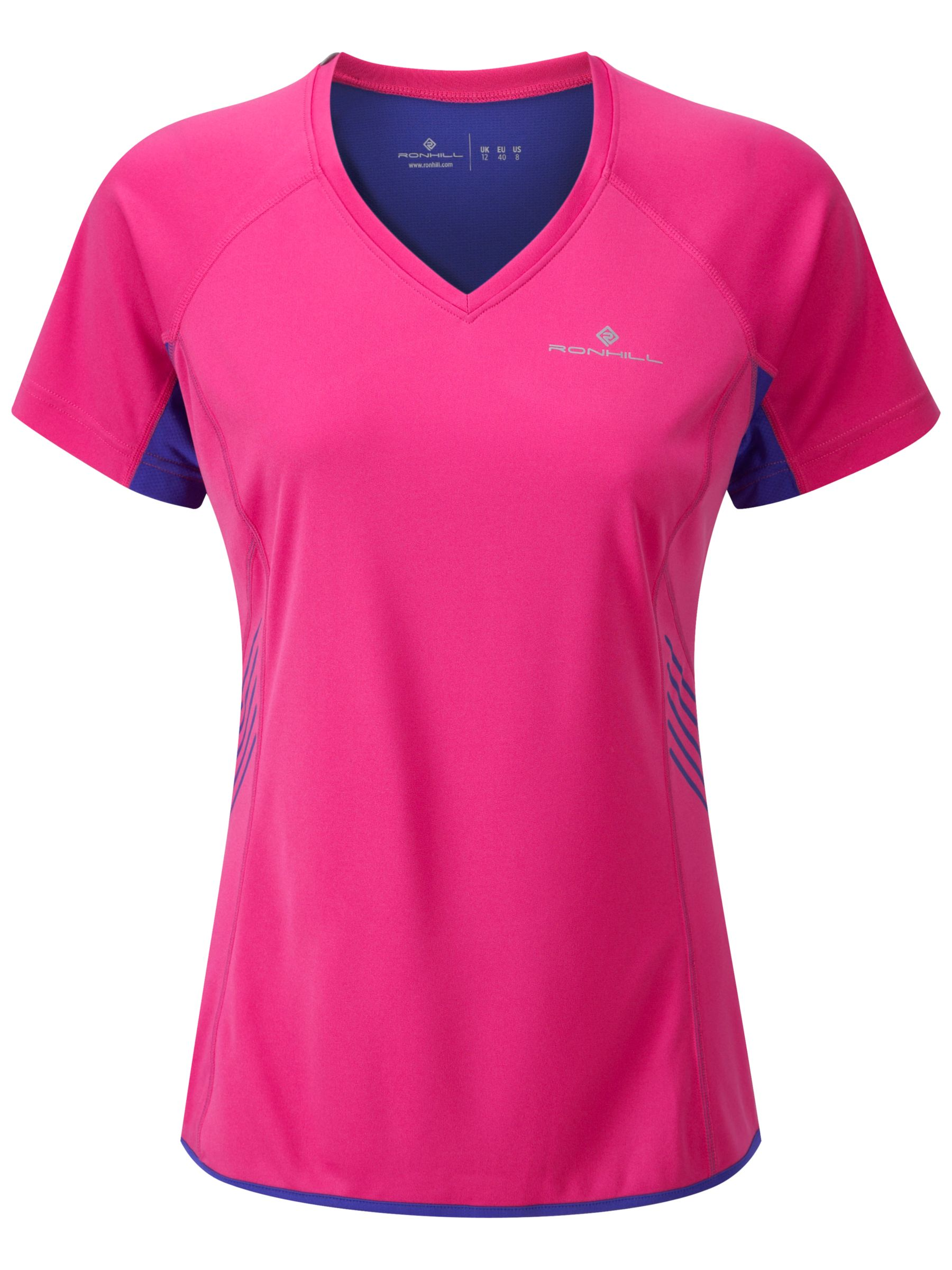 Ronhill Aspiration Short Sleeve T-Shirt, Fuchsia/Midnight