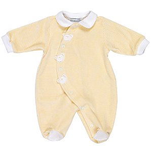 John Lewis Teddy Stripe Velour Sleepsuit, Yellow, Newborn