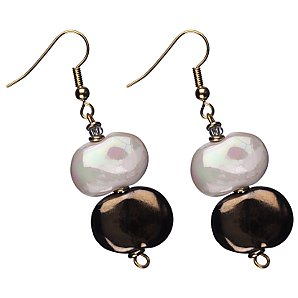 Kazuri Ceramic Double Drop Earrings, White & Gold