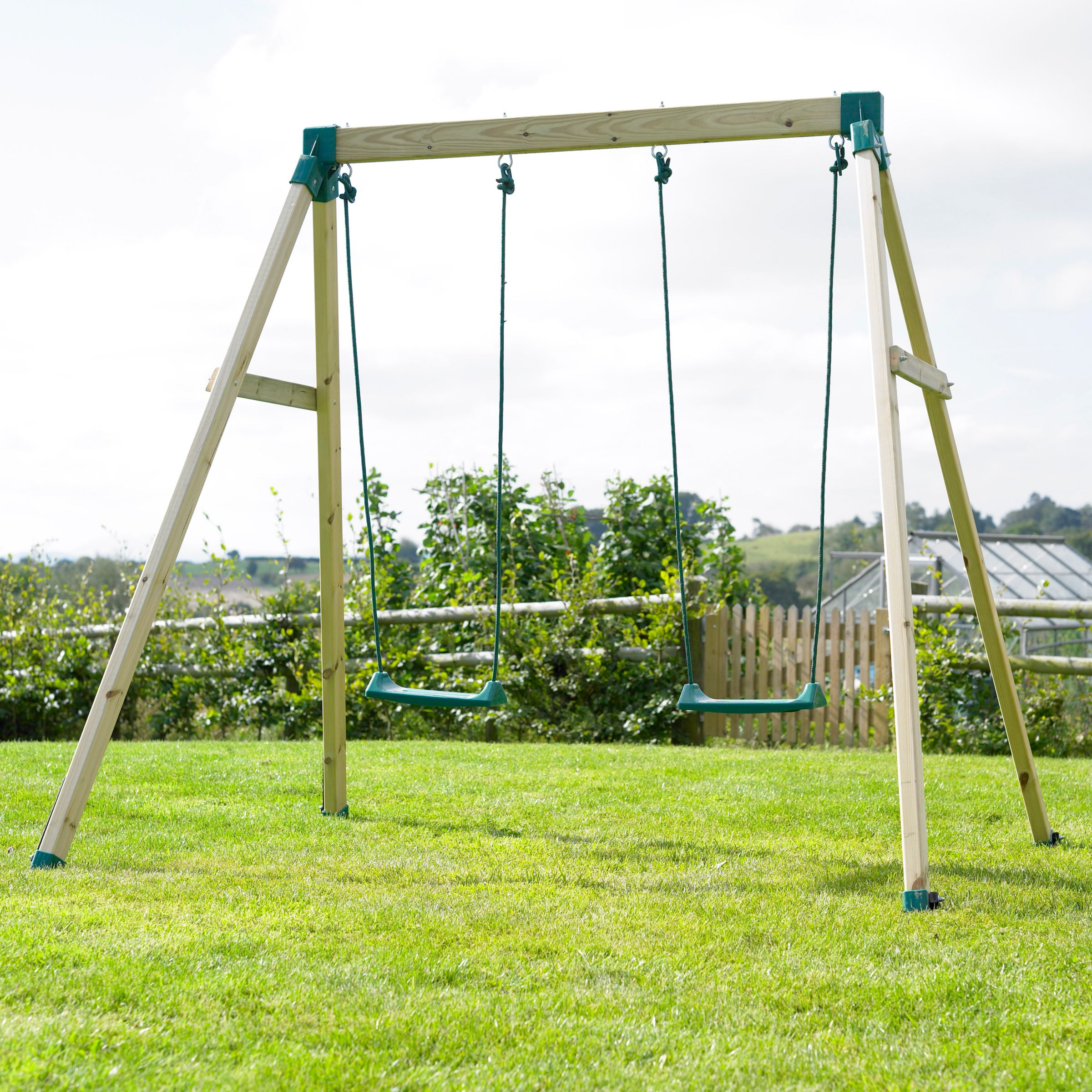 TP Forest Double Wooden Swing Set