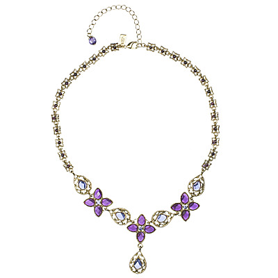 1928 Vintage Style Flower Necklace, Amethyst