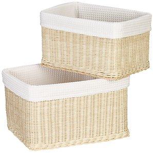 Rattan Baskets, Set of 2, White Waffle