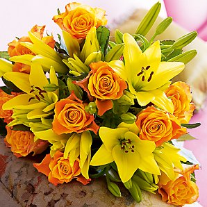 John Lewis Flowers Untitled page 10 zesty orange marie claire roses and 5 yellow asiatic lilies for you or a recipient to arrange as desired delivery information you will be asked to sisterspd