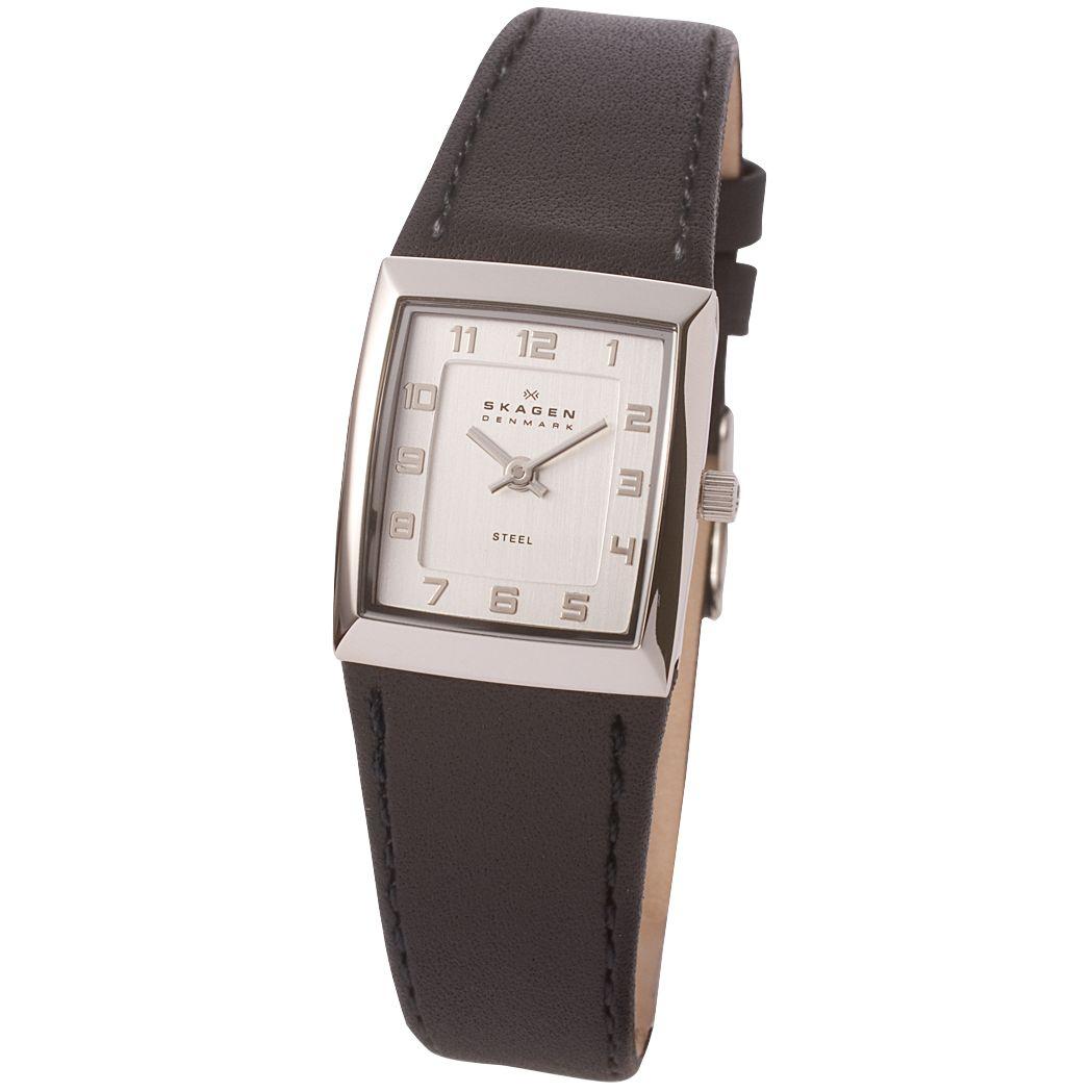 Skagen 523XSSLBC Ladies Leather Watch, Black