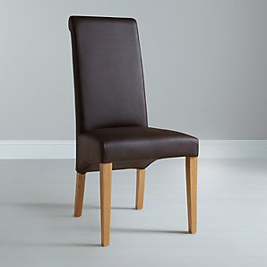 John Lewis Patricia Leather Dining Chair, Brown