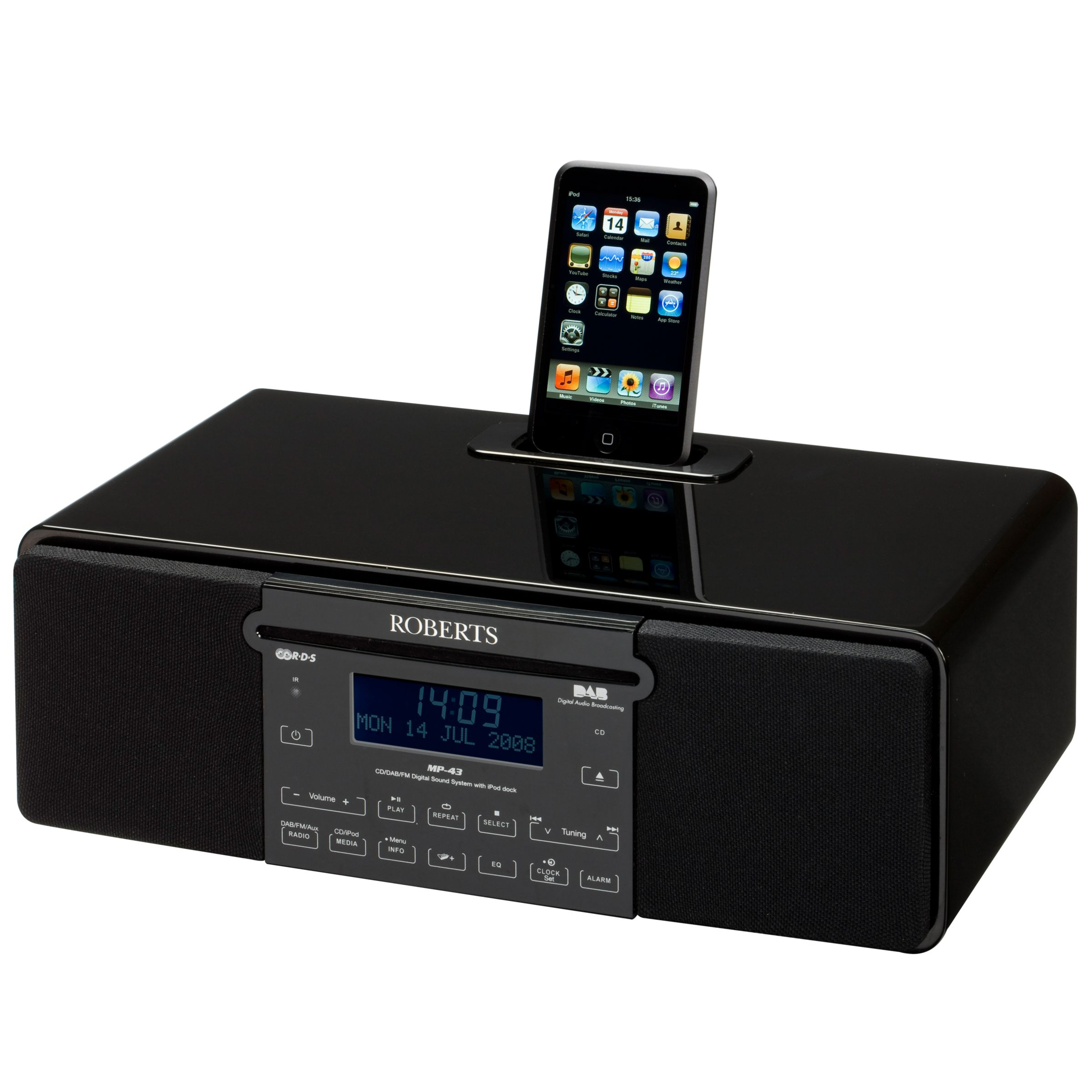 ROBERTS SOUND 43 DAB/CD iPod Dock Radio, Piano Black at JohnLewis