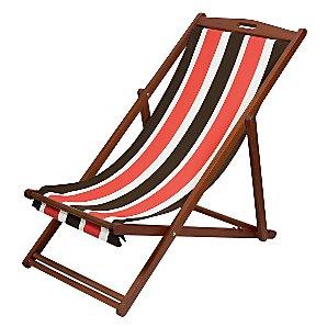 John Lewis Value Stripe Deckchair, Flame