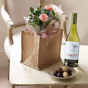 Roses and Chocolates with White Wine