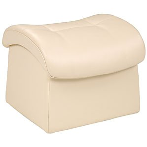 John Lewis Gemini Leather Footstool, Vanilla